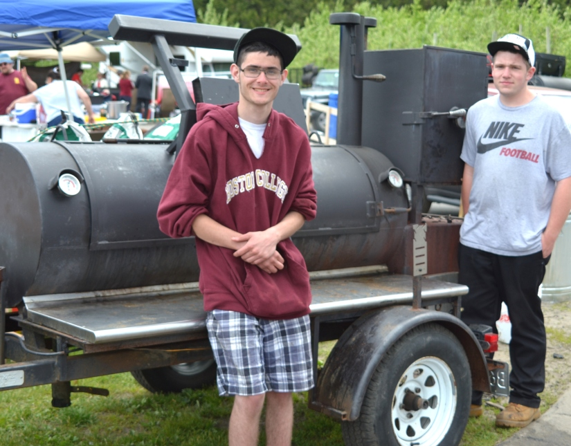 "Enrico Pasquale (L) of ""Young Gunz BBQ"" w/ Josh Cathcart"