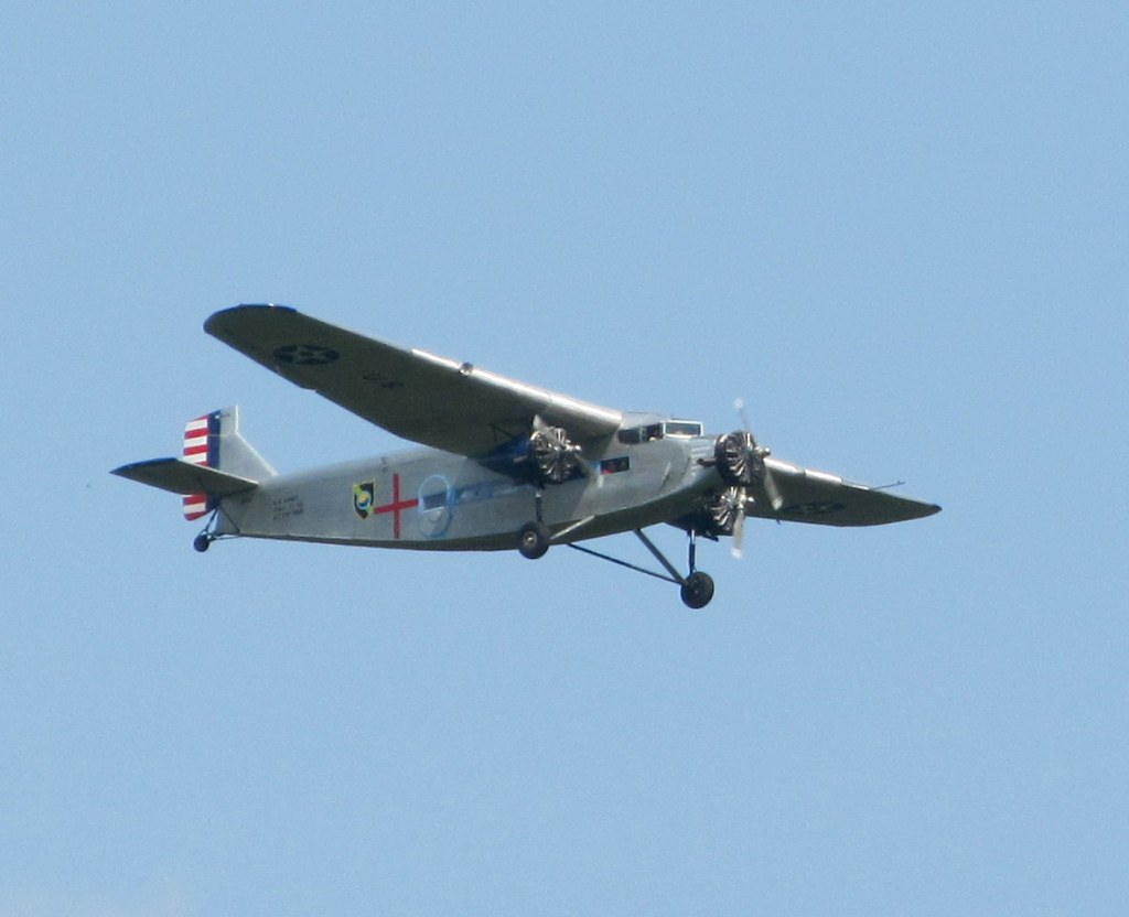 1929 Ford Trimotor flying over our condo