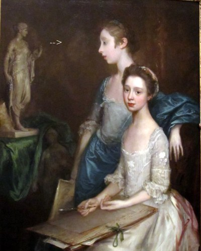 WAM gainsborough's portrait of his daughters shows a ghostly image where the standing daughter had originally been standing a bit to the left and facing right