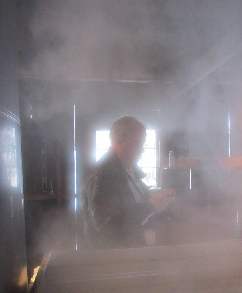 My husband Jonathan through a maple fog