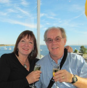 My husband and me celebrating our 5th anniversary dining in the Newburyport MA lighthouse