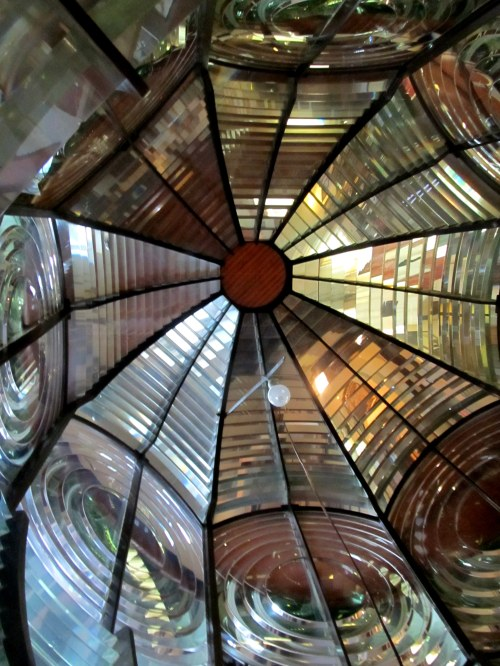 Looking Inside Cape Forchu Light's retired Fresnel at Yarmouth County Museum Yarmouth Nova Scotia