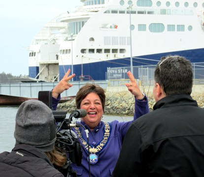 Yarmouth Nova Scotia Mayor Pam Mood, Possibly the happiest person when her ship came in with Nova Star
