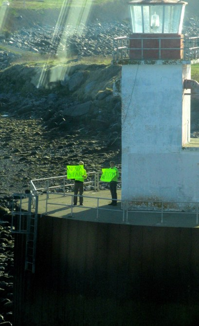 Welcome Committee at Bunker Light NS has greeting for Nova Star