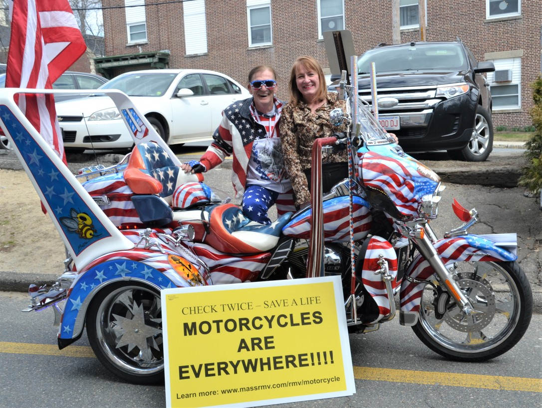 DSC_8555 Haverhill Motorcycle Awareness Alison w Lance Blais Vietnam Veteran and former POW