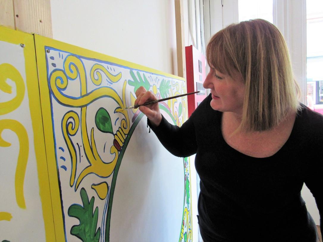 IMG_3362 (3) HA Immigrant Mural w Alison Painting
